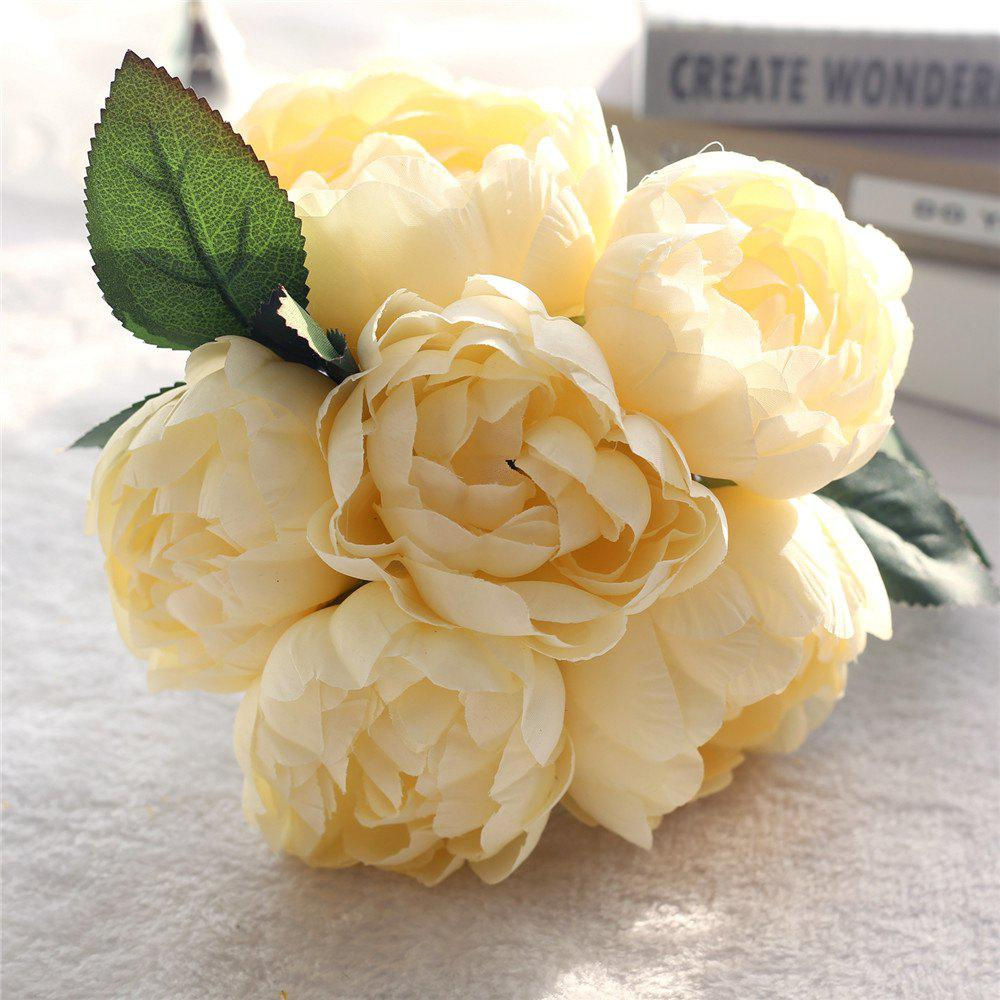 Hot Wedding Bridal Bouquet Peony Rose Artificial Flower Home Decor