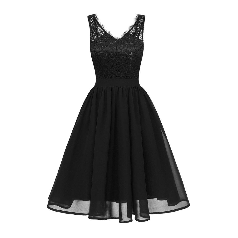 New Ladies Evening Party V-Neck Sexy Chiffon Lace Dress