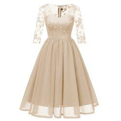 Ladies Evening Party Embroidered V-Neck Elegant Waist Lace Dress -