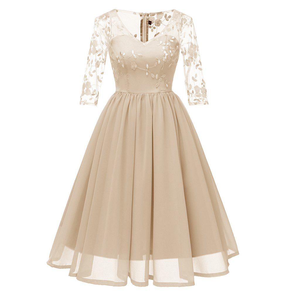 Trendy Ladies Evening Party Embroidered V-Neck Elegant Waist Lace Dress