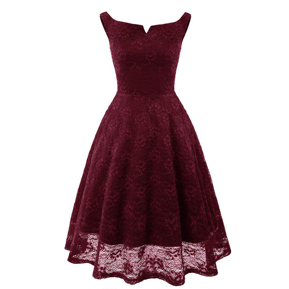 Store Ladies Evening Party Temperament Slim Sweet Solid Color V-Neck Lace Dress