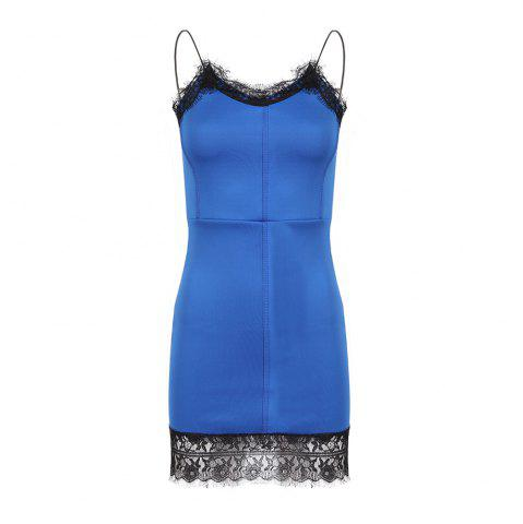 HAODUOYI Women's Sexy Lace Backless Tight-Fitting Hip Dress Blue