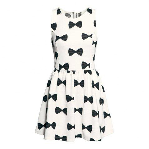 Haoduoyi Women S Sweet And Playful Cartoon Bow Print Slim Dress White