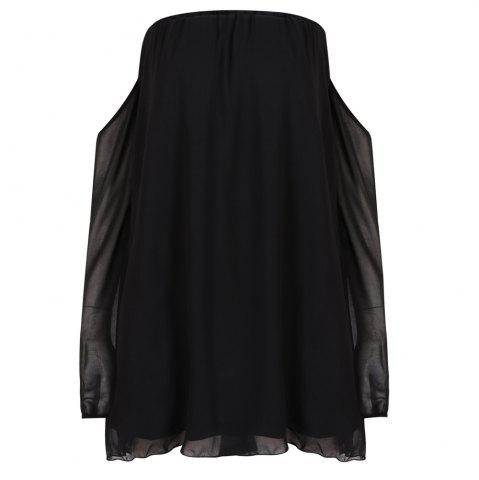 HAODUOYI Women's Sweet Sexy Loose Strapless Long Sleeve Dress Black