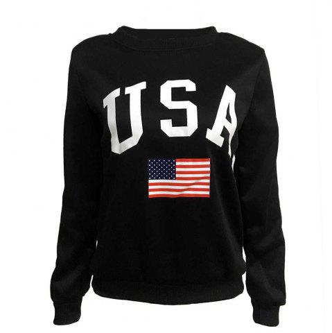 Flag USA Letter Printing Loose Loose Collar Long Neck Sweater Girl