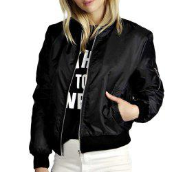 Solid Color Short Fashion Zipper Jacket -