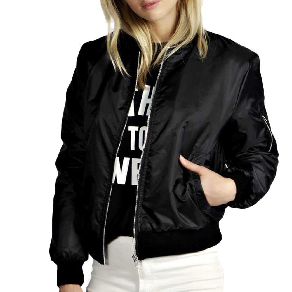 Buy Solid Color Short Fashion Zipper Jacket