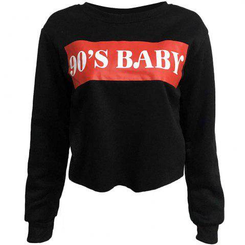 Letter Printed Round Neck Long Sleeved Sweater