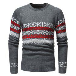 Round Neck Fashion Contrast Jacquard Men's Casual Knit Sweater -