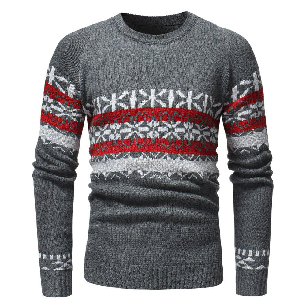 Chic Round Neck Fashion Contrast Jacquard Men's Casual Knit Sweater