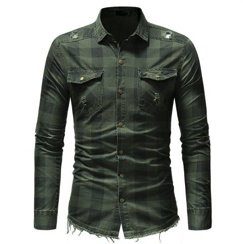 Burr Hem Plaid Long-sleeved Men's Jeans Pocket Decoration Shirt