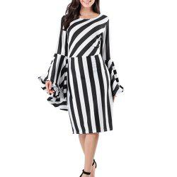 Stylish Long-Sleeved Striped Dress -