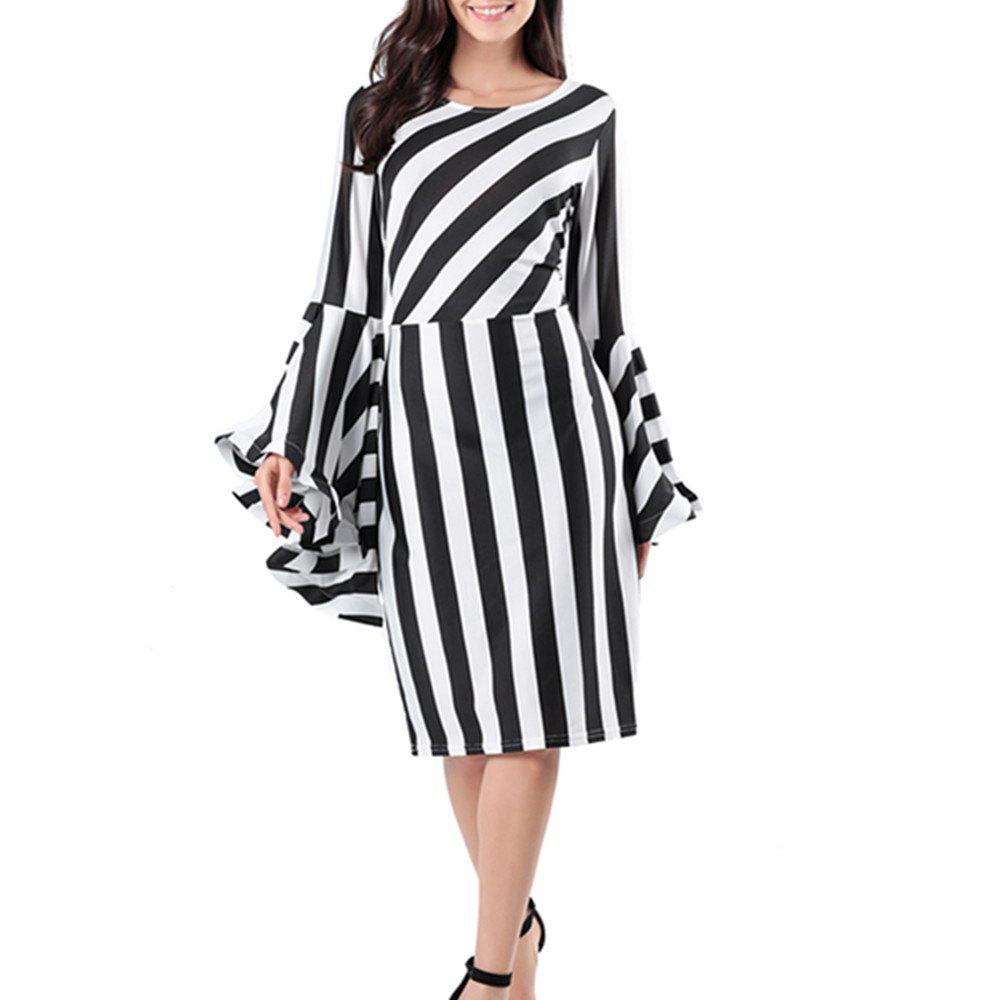 Shops Stylish Long-Sleeved Striped Dress
