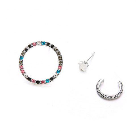 Women's Fashion Studs 3Pcs Colorful Rhinestone Round Circle Star Studs Set