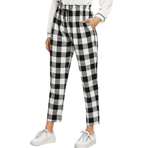 Women's Loose Sports Black and white Lattice Pants