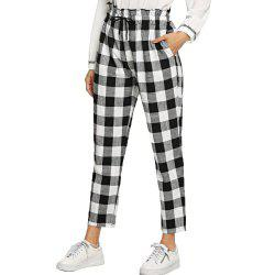 Women's Loose Sports Black and white Lattice Pants -
