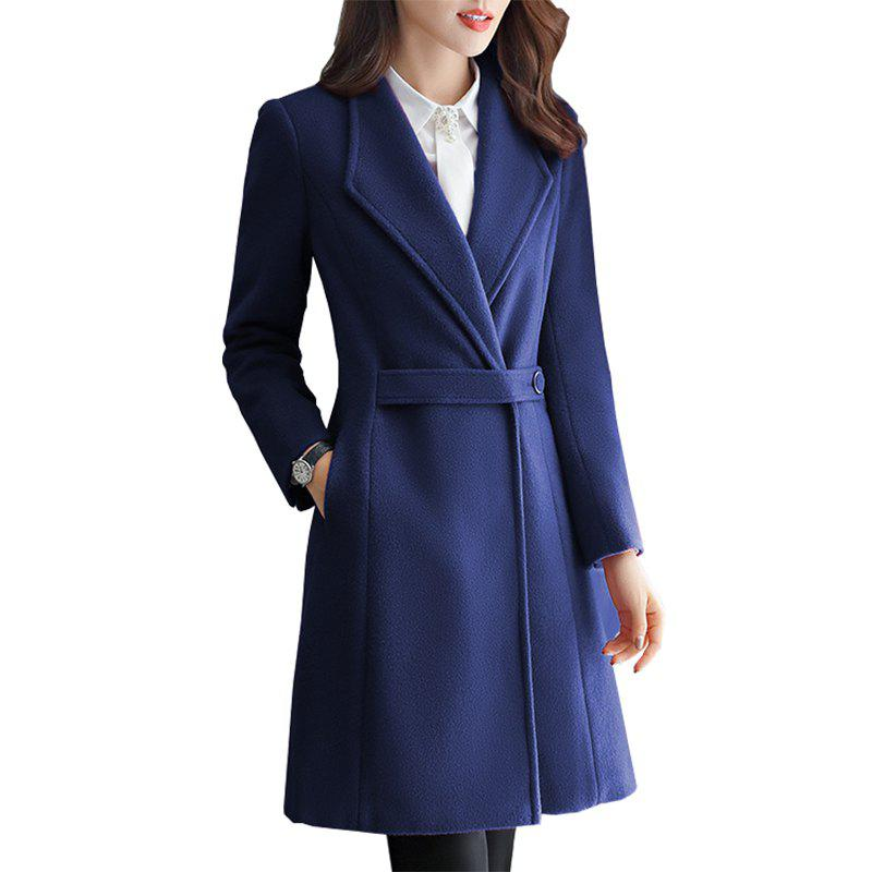 Fashion Womens Slim Fashion Temperament Lady Business Wool Coat