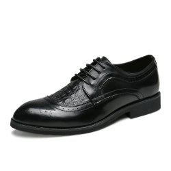 Men Plus Size Brogue Lace Up Casual Fashion Leather Shoes -