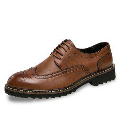 Men Brogue Leisure Gentle Lace Up Leather Shoes -