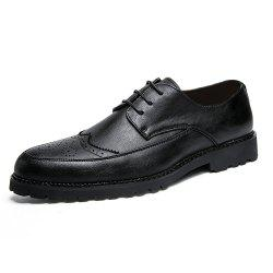 Men Solid Brogue Casual Leather Shoes -
