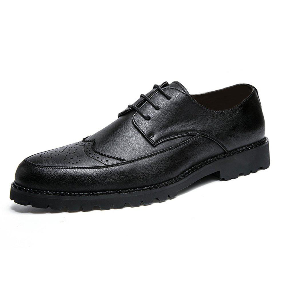 Discount Men Solid Brogue Casual Leather Shoes
