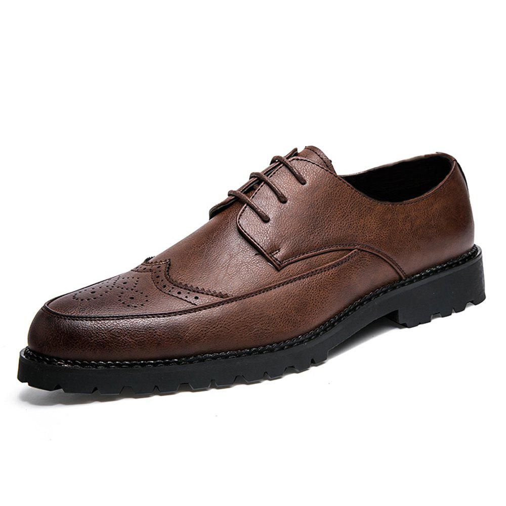 Chic Men Solid Brogue Casual Leather Shoes