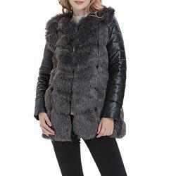 Women Faux Fur Leather Jacket Long Sleeve -