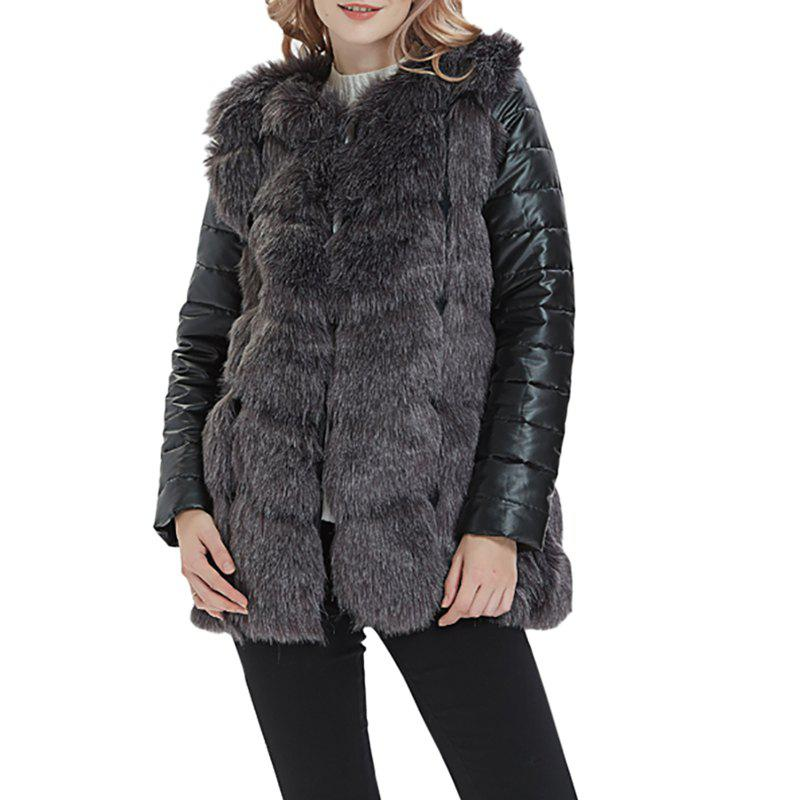 Affordable Women Faux Fur Leather Jacket Long Sleeve