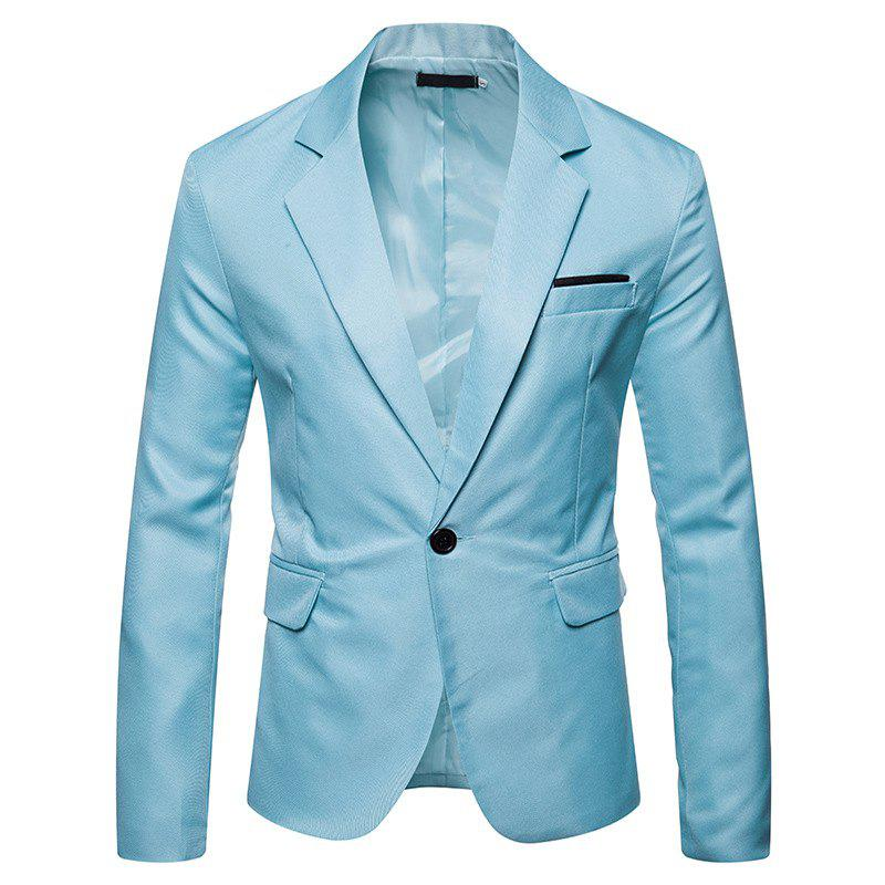 Mens Blazer Slim Fit Casual Suit Coat One Button Business Lapel Suit Jacket