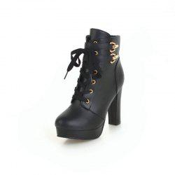 Round Head Waterproof Platform with High Heel Fashion Lace Ankle Boots -
