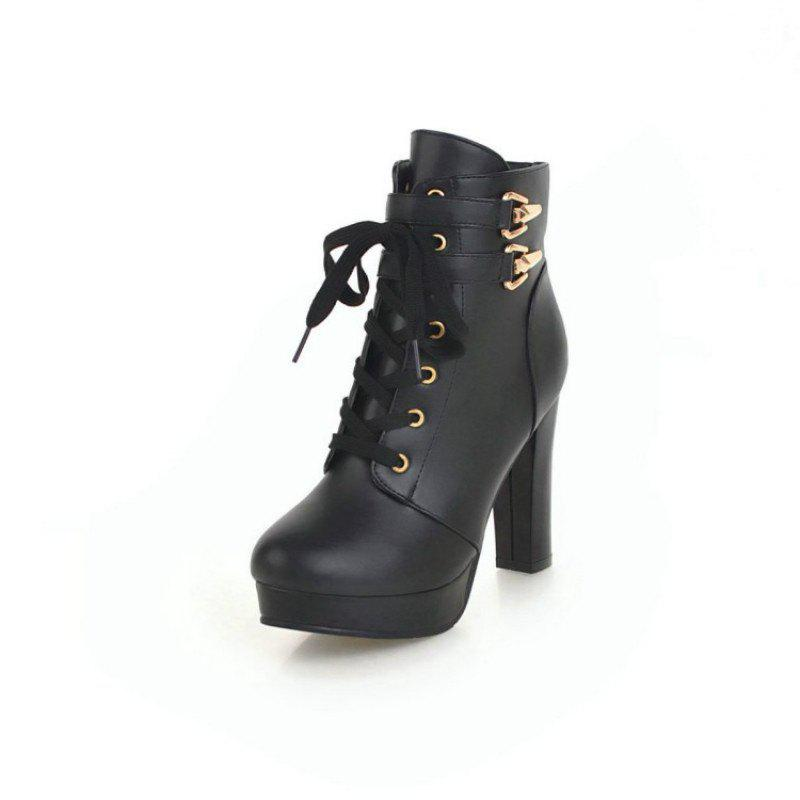 Online Round Head Waterproof Platform with High Heel Fashion Lace Ankle Boots
