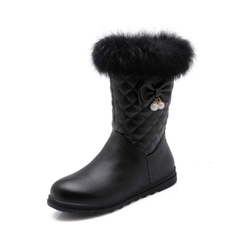Chic Round Head Thick Bottom Flat Sweet Boots
