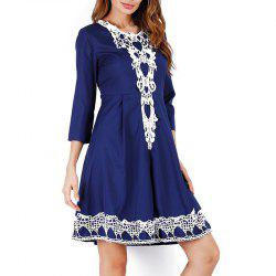 Solid Color 3/4 Length Sleeve High Waist Lace Party Dress -