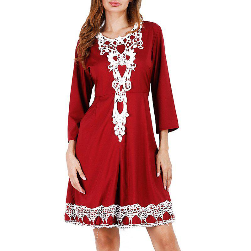 Hot Solid Color 3/4 Length Sleeve High Waist Lace Party Dress