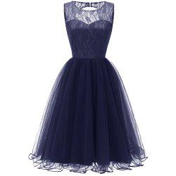 Ladies Evening Party Temperament Slim Sweet Solid Color Lace  Prom Dres -