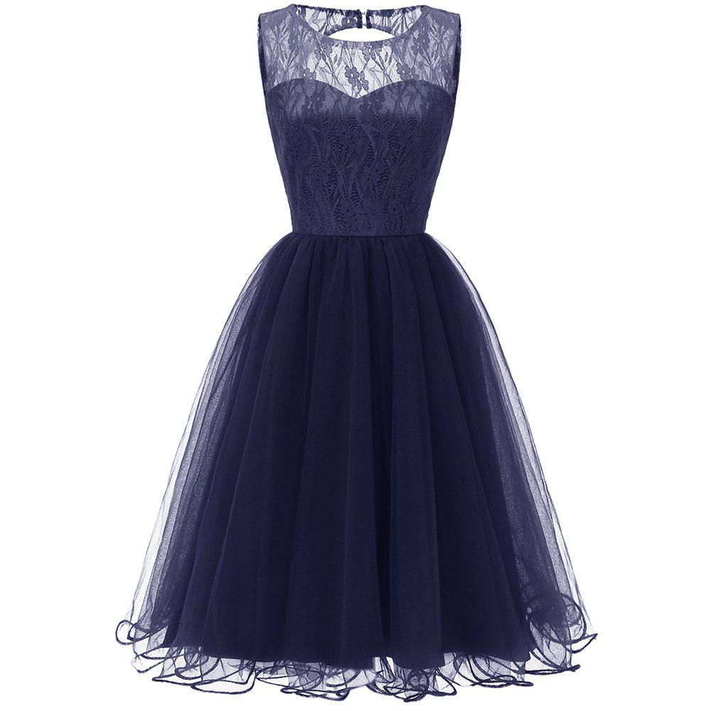 Outfit Ladies Evening Party Temperament Slim Sweet Solid Color Lace  Prom Dres