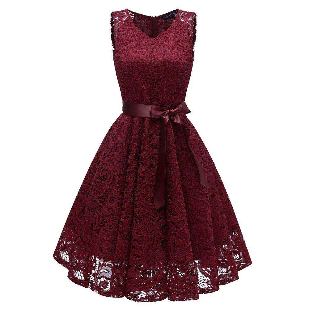 Mesdames Temperament Slim Couleur unie V-Neck Lace Dress Rouge Vineux M