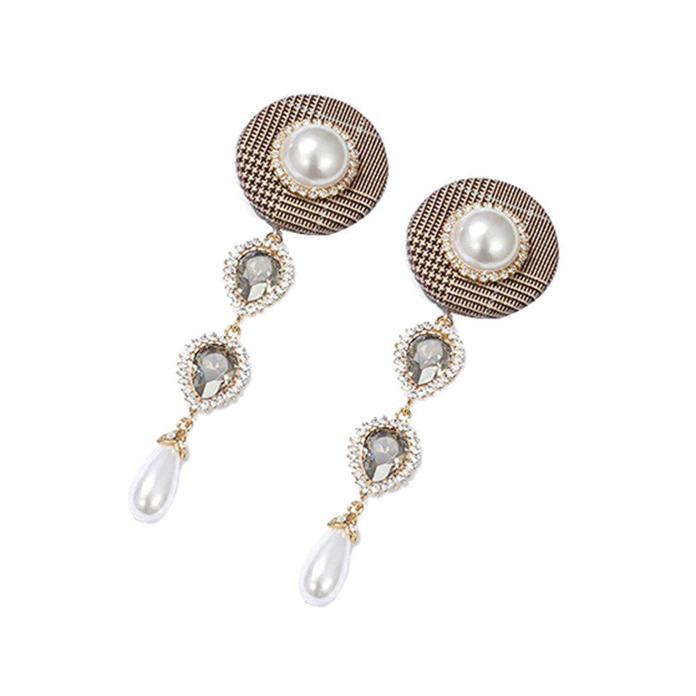 New Fashion Personality Button Plaid Earrings