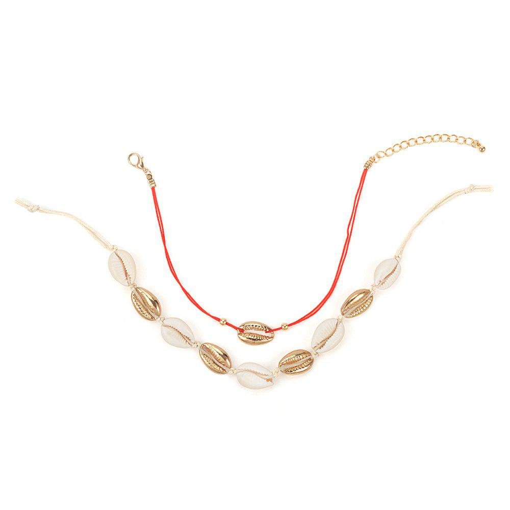 Affordable Women's 2 Pcs Ankle Chains Retro Stylish Sea Shell Decor Accessories