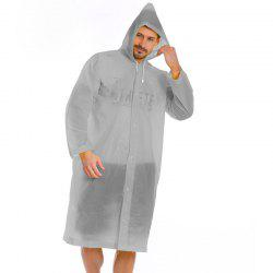 Transparent Clear Reusable Raincoat With Hood and Sleeves for Unisex Adult -