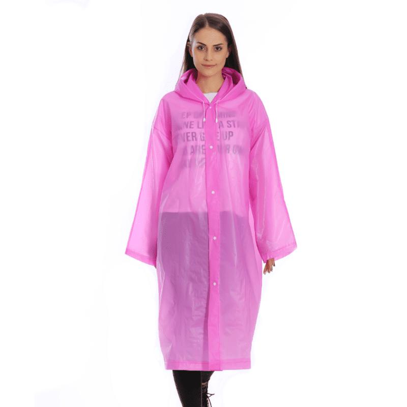 Fancy Transparent Clear Reusable Raincoat With Hood and Sleeves for Unisex Adult