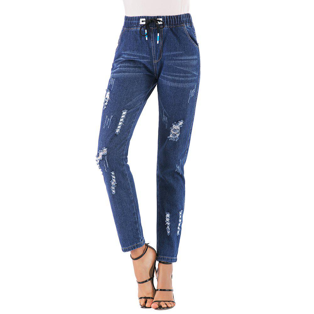 Sale Women'S Jeans Solid Color Hole Drawstring Waist Casual Jeans