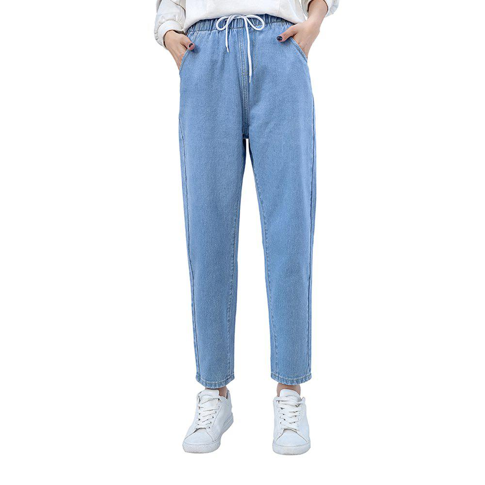 39d0594a1bb2d Online Women S Jeans Simple Elastic Waist Harlan Band Width Loose Slim Pants
