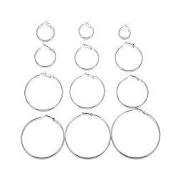 Silver Exaggerated Circle Earrings Set -