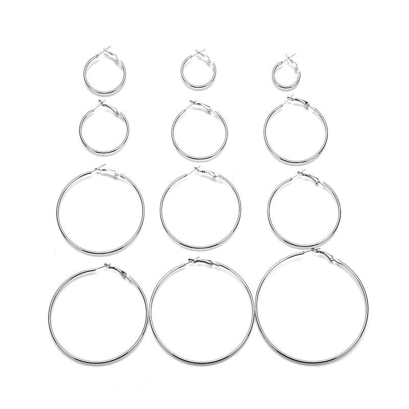 Shops Silver Exaggerated Circle Earrings Set