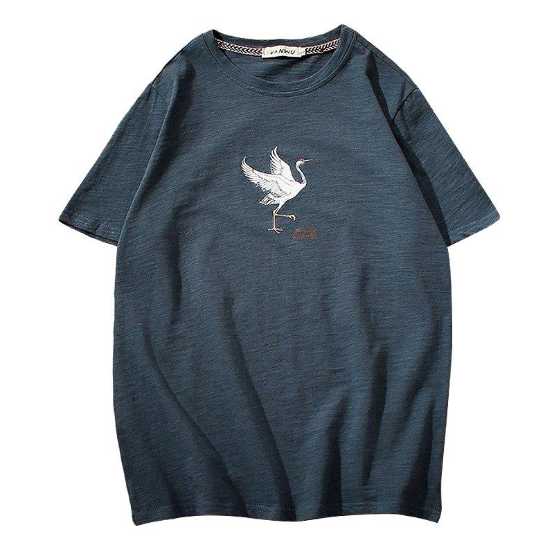 Sale Men'S Printed O Neck T-Shirt Comfy All Match Fashion Short Sleeve Tee