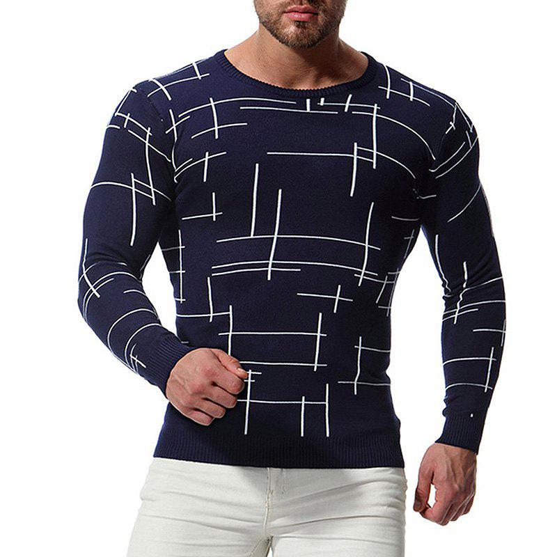 Discount Men'S Sweater O Neck Line Pattern Knitting Slim Fashion Men'S Knitwear