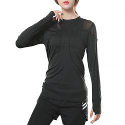 T Shirt Solid Color Breathable Gauze Patchwork Long Sleeve Top -