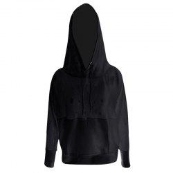Women'S Hoodie Solid Color Hollow Out Breathable Fashion ALL Match Top -