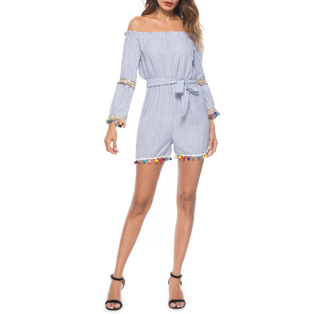 Chic Casual Street Word Collar Striped Colorful Ball Long Sleeve Jumpsuit